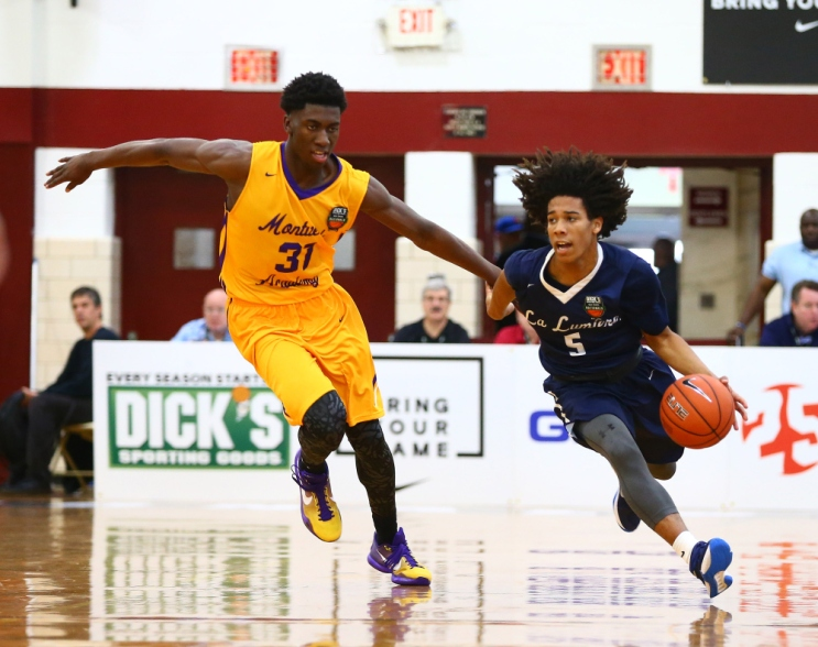 4/1/2016 1:00AM -- Middle Village, NY, U.S.A -- Montverde Academy gforward Simisola Shittu (31)) defends against La Lumiere guard Tyger Campbell (5) as he plays the ball during the first half during Dick's Sporting Goods High School Basketball Nationals at Christ the King Regional high school. -- Photo by Andy Marlin USA TODAY Sports Images, Gannett ORG XMIT: US 134676 Dick's basketbal 4/1/2016 [Via MerlinFTP Drop]